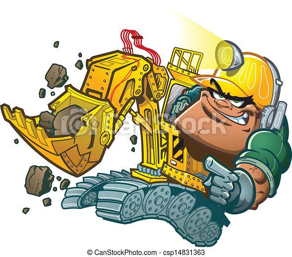 バックホウ, 運転手 - 漫画, バックホウ,... csp14831363のクリップアートベクター ...