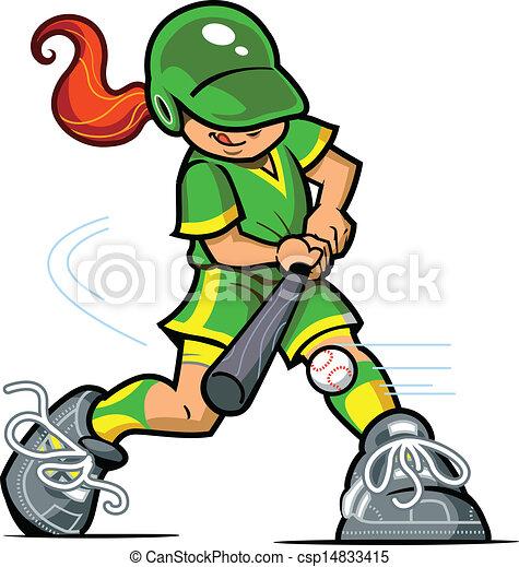Vector Clip Art Of Girl Baseball Batter