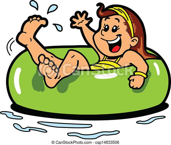 Girl Floating Inner Tube - csp14833506