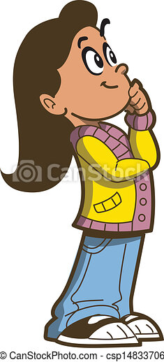 Vector Clipart of Girl Thinking - Young Girl Thinking ...