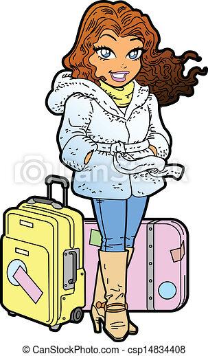 Clipart vecteur de jet setter joli femme - Voyageur dessin ...