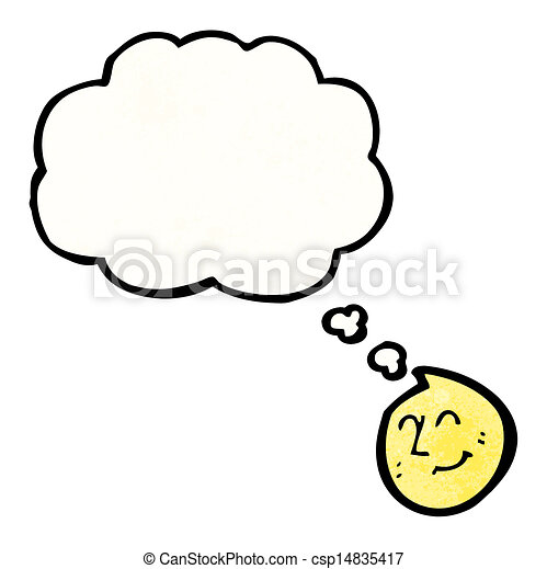 Thinking Bubble Smiley Face Clip Art Vector - happy face with thought ...