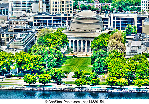 Boston Massachusetts Institute of Technology campus with trees and lawn aerial view with Charles River from Prudential Tower - csp14839154