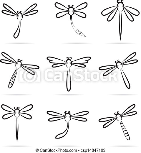 Small Dragonfly Drawing Set of Vector Dragonfly Icons