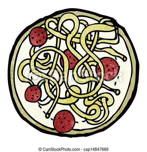 Clip Art Vector of spaghetti and meatballs cartoon ...