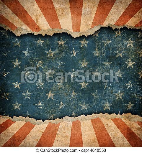 Grunge ripped paper USA flag pattern - csp14848553