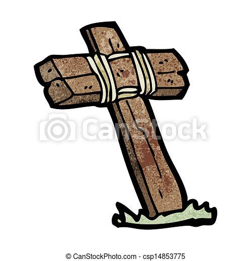 Cross Cartoon Drawing Vector Wooden Cross Cartoon