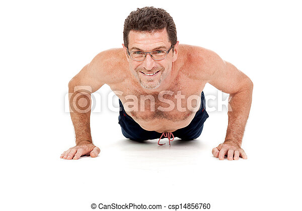 adult smiling man doing workout pushups isolated - csp14856760