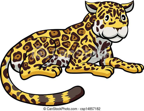 Vector de caricatura, jaguar, gato - un, Ilustración, feliz, lindo ...