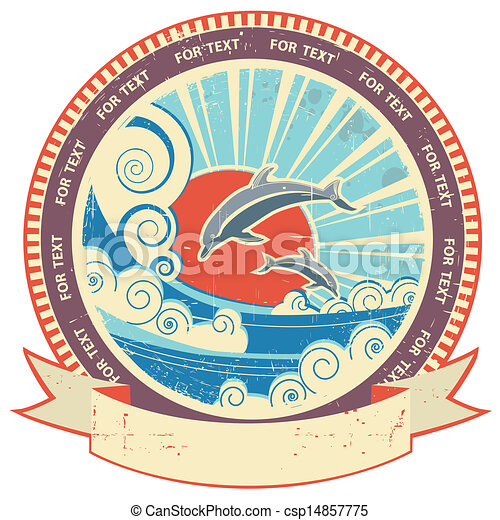 Dolphins in sea waves.Vintage label and scroll for text on old texture background - csp14857775