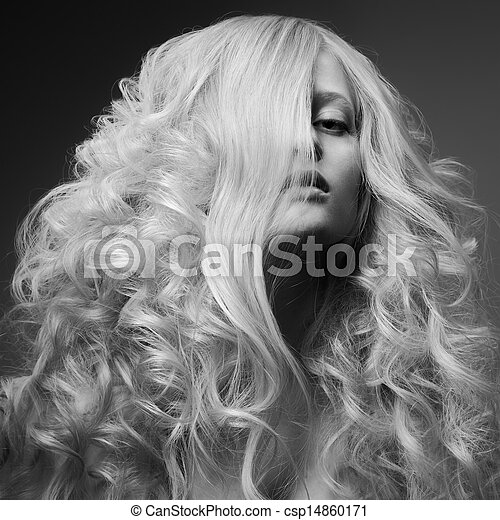 Blond Woman. Curly Long Hair. BW Fashion Image - csp14860171