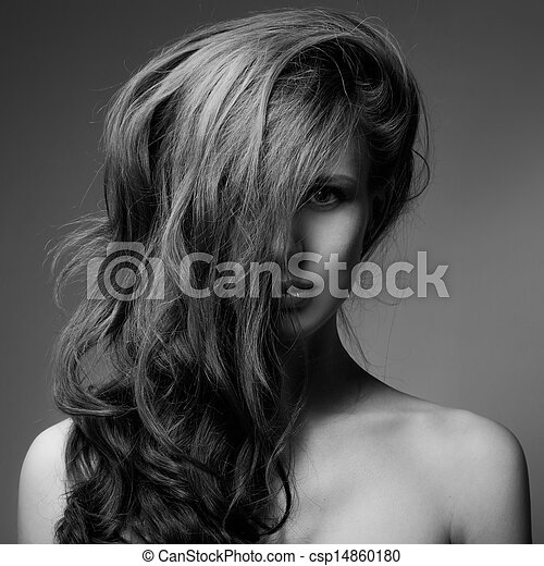Fashion Portrait Of Beautiful Woman. Curly Long Hair. BW Image - csp14860180