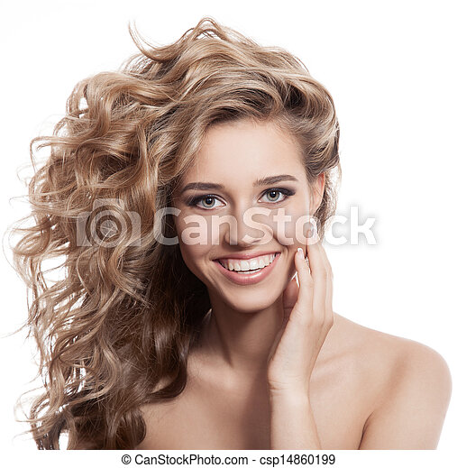 Beautiful smiling woman portrait on white background - csp14860199