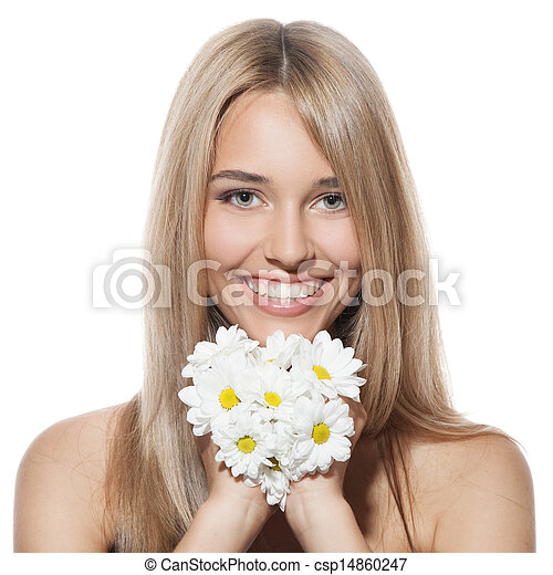 Beautiful happy young woman with flowers - csp14860247