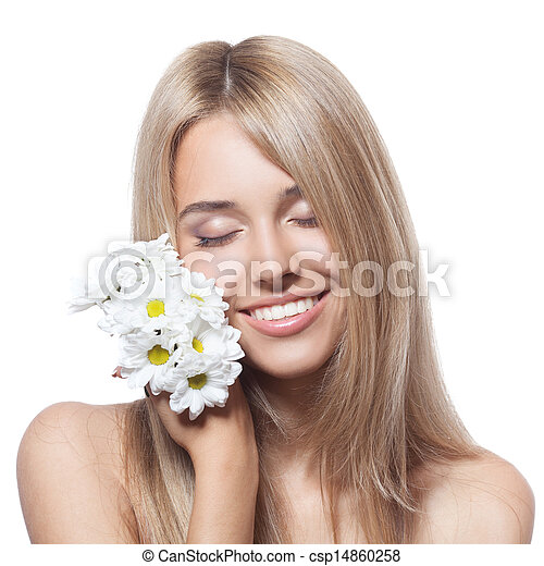 Beautiful happy young woman with flowers - csp14860258