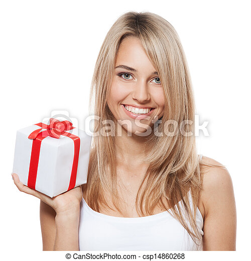 Young happy woman with a gift - csp14860268
