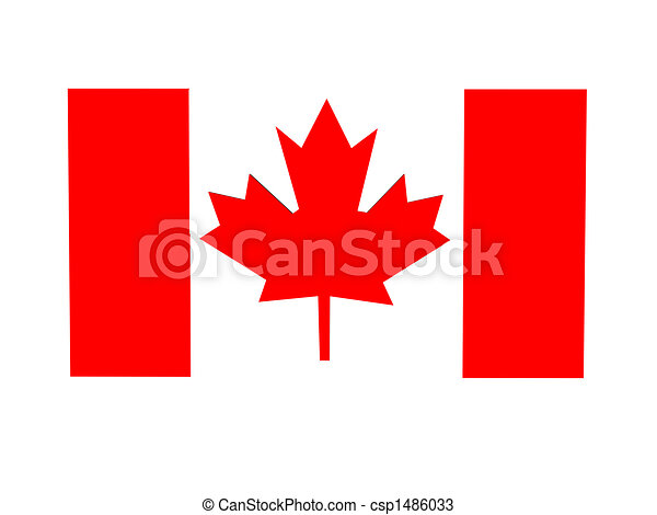 Three-dimensional figure of a flag of Canada. - csp1486033