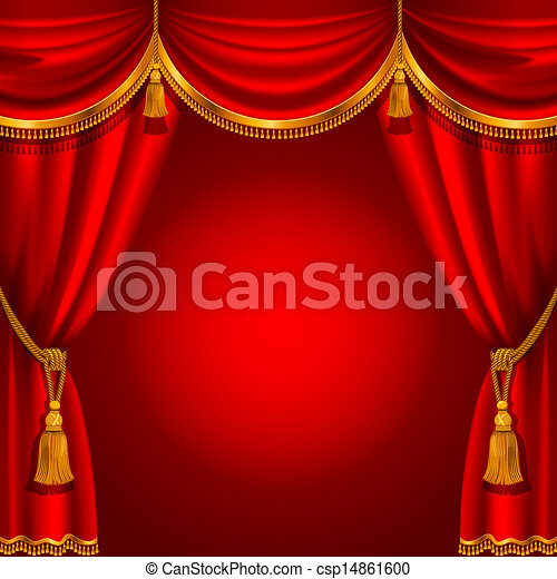 Stage curtain drawing - Vector Clipart Of Red Curtain Theater Stage With Red