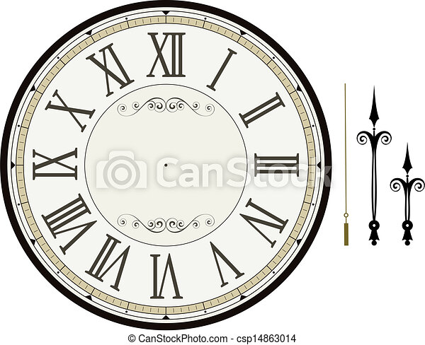 Vector Clip Art of clock face template - vintage clock face template ...
