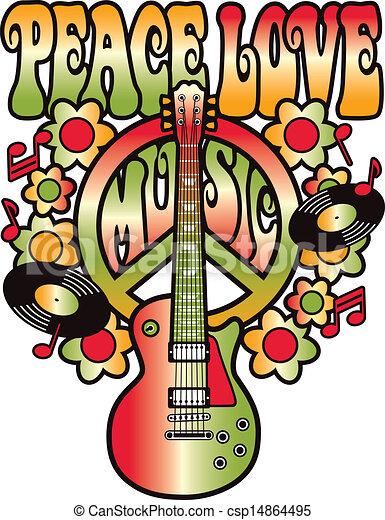 Vecteurs eps de peace love music retro style type conception de paix csp14864495 - Dessin peace and love ...