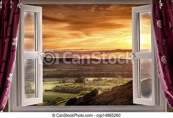 Open window to rural landscape - csp14865260