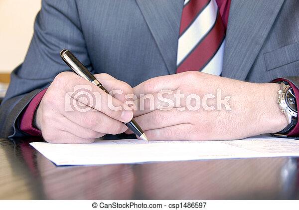 assinando, mão - csp1486597
