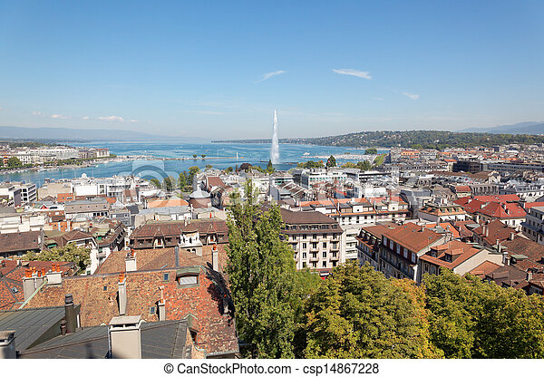 The city of Geneva in Switzerland, a aerial view - csp14867228