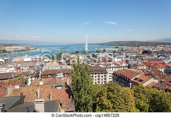The city of Geneva in Switzerland, a aerial view - csp14867228