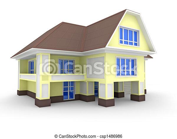 Illustration de maison mitoyenne 3d mod le maison for Modele maison mitoyenne