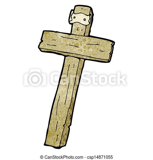 Cross Cartoon Drawing Vector Cartoon Wood Cross