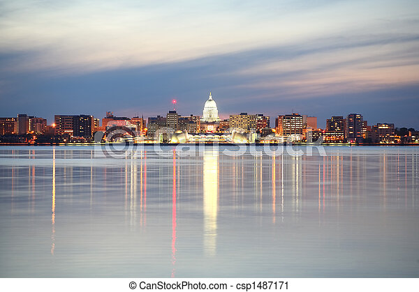 Skyline of Madison Wisconsin at dusk - csp1487171