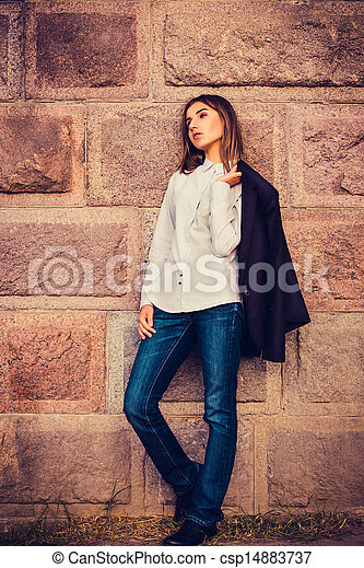 beautiful young fashionable girl - csp14883737
