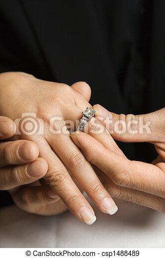 Man putting ring on woman.