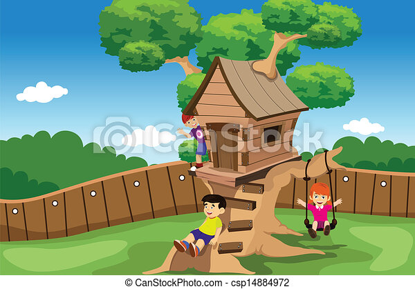 Kids playing in a tree house - csp14884972