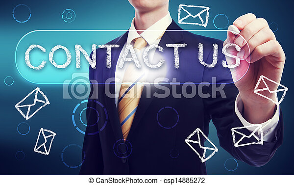 Contact Us written in Chalk by Business Man - csp14885272