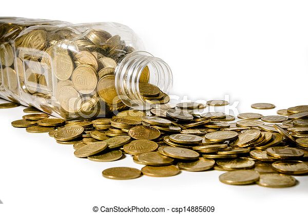 Stock Photo - Scattered coins - stock image  images  royalty free    Scattered Photographs