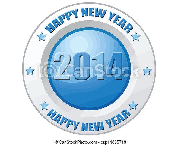 Happy New Year 2014-label - csp14885718