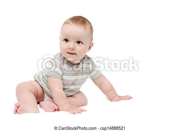 Stock foto van mooi jongen zittende achtergrond baby witte vrolijke csp14888521 - Foto baby jongen ...