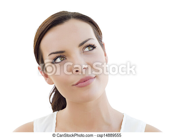 Pensive Young Adult Woman Looking Up on White - csp14889555