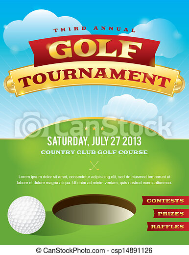 Golf Tournament Invitation Design - csp14891126