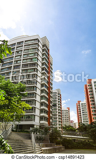 Orange color residential apartments - csp14891423