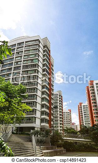 Orange color residential apartments - csp14891423