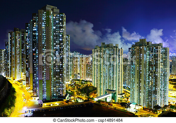 lluminated residential building in Hong Kong - csp14891484