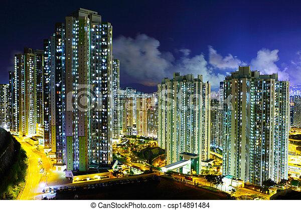 lluminated residential building in Hong Kong - csp14891484