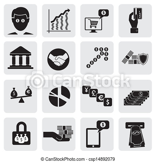 bank & money icons(signs) related to  wealth, assets- vector graphic. This illustration can also represent savings account, investments, wealth creation, banking business, saving money(cash), credit cards - csp14892079
