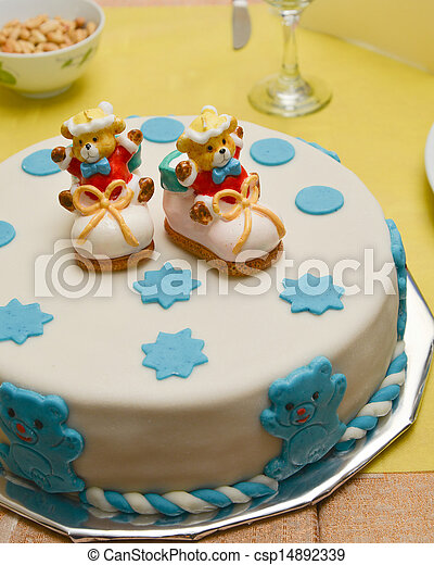 Stock Photo of baby boy birthday cake with cute doll csp14892540