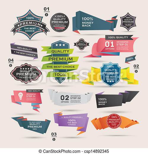 Set of Retro  ribbons and labels , Origami banners - csp14892345