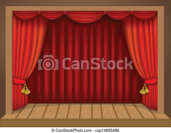 vecteur de th tre sc ne riche draperies rideaux plancher bois csp14895486 recherchez. Black Bedroom Furniture Sets. Home Design Ideas