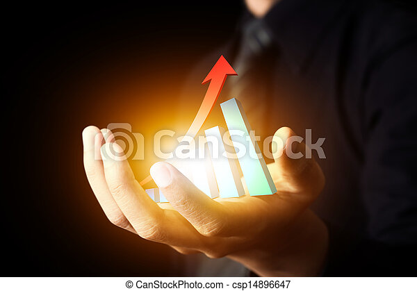Business hand holding  hot chart - csp14896647