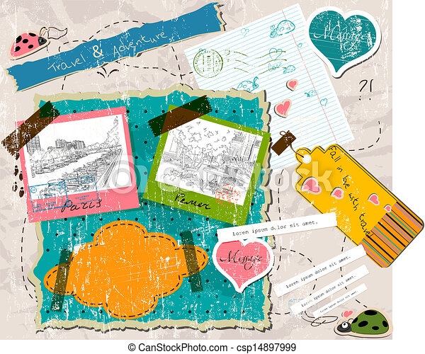 scrapbooking set with stamps and photo frames. - csp14897999
